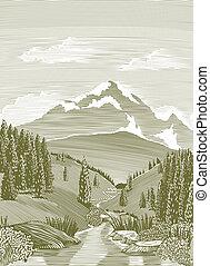 rivière, scène, woodcut