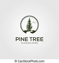 rivière, vecteur, arbre, pin, logo