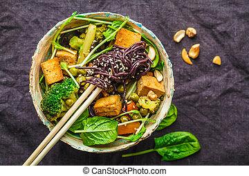 riz, légumes, vegan, sombre, tofu, arrière-plan., frire, nouilles, remuer, asiatique
