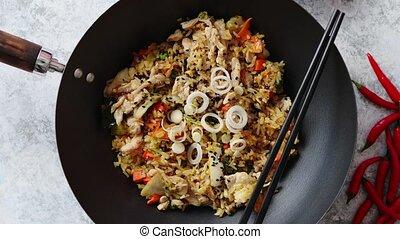 riz, poulet, délicieux, frit, wok