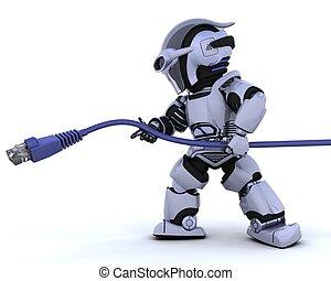 rj45, robot, câble, réseau