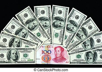 rmb, notes, usd, banque