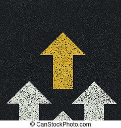 road., asphalte, concept., flèches, vecteur, collaboration