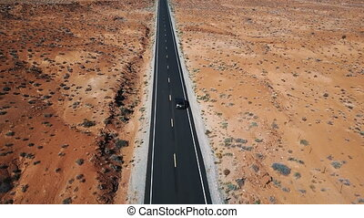 road., conduite, bourdonner, voiture, ensoleillé, argent, américain, bourdon, paysage, suivre, long, désert, vide, autoroute