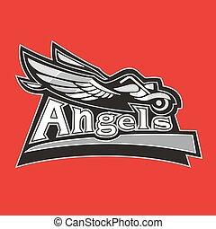 road., conduite, club, illustration, motard, vecteur, motocyclette, anges, ailes, homme