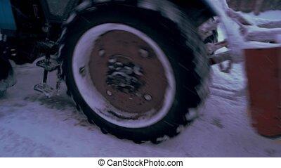road., haut, neige, nettoyage, fin, tracteur