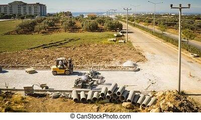 road., pavestone, fixation, défaillance, chargeur, construction, 4k, temps, petit, ouvriers