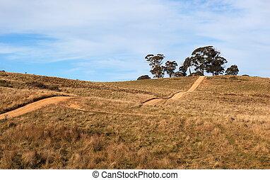 road., tablelands, pays, vallonné, oberon., nouveau, australia., wales., sud