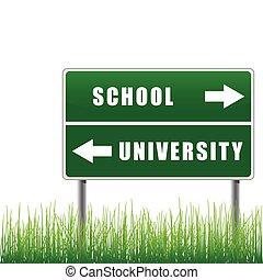 roadsign, école, university.