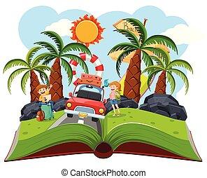 roadtrip, livre, couple, surgir