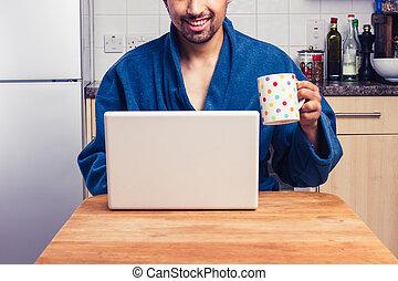 robe, avoir, homme, email, vérification, café