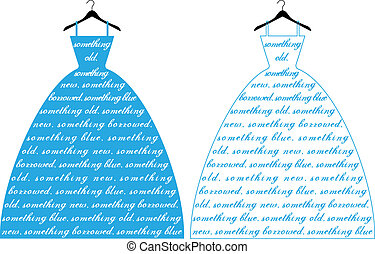 robe bleue, vecteur, mariage