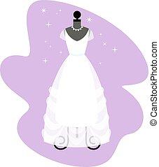 robe, dress., mode, mannequin., mariée, vector., mariage, blanc, apparel.