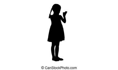 robe, elle, applaudir, noir, enchanté, girl, hands., silhouette