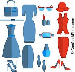 robe, ensemble, jupe, accessoires, isolé, veste, femmes vêtent