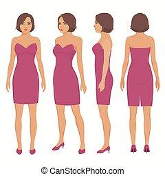 robe, femme, côté, dos, isolé, devant, vue