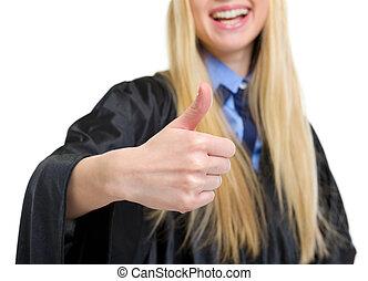 robe, femme, projection, jeune, remise de diplomes, haut, closeup, pouces