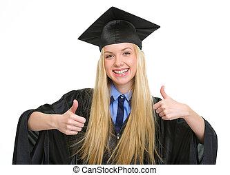 robe, femme, projection, jeune, remise de diplomes, haut, pouces, heureux