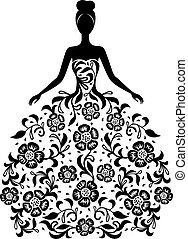 robe florale, girl, ornement, silhouette