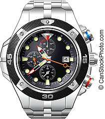 robe, hommes, montre, analogue