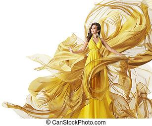 robe, mode, tissu, robe, jaune, couler, femme, écoulement, modèle, blanc, vêtements