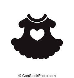 robe noire, style, enfant, icône, blanc, plat