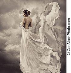 robe, souffler, robe, artistique, blanc, femmes
