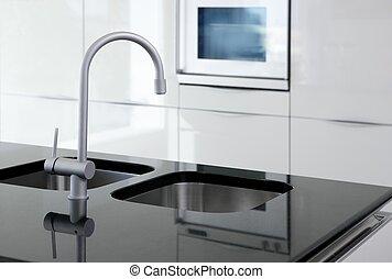 robinet, moderne, noir, four, blanc, cuisine