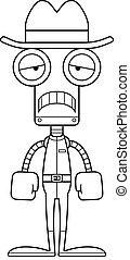 robot, triste, dessin animé, cow-boy