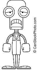 robot, triste, dessin animé, docteur