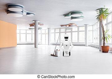 roboter, grand, nettoyage, service, milieu, salle