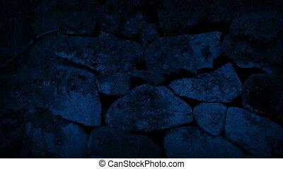 rocher, dépassement, mur, vieux, nuit