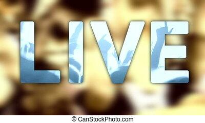 rocher, foule, ventilateur, fond, musique vivante, titre, concert, festival, étoile, écrit