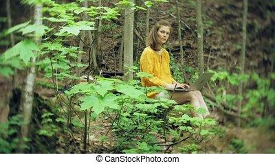 rocher, girl, ordinateur portable, forêt, séance