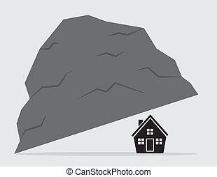 rocher, maison, sous