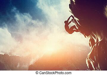 rocher, montagne, sunset., montée homme, silhouette