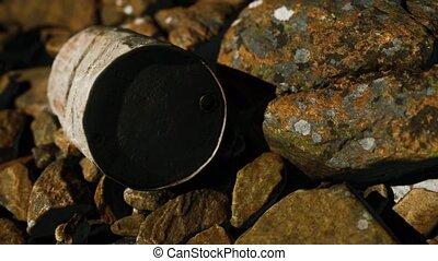 rochers, baril, rouillé, plage, détruit, métal
