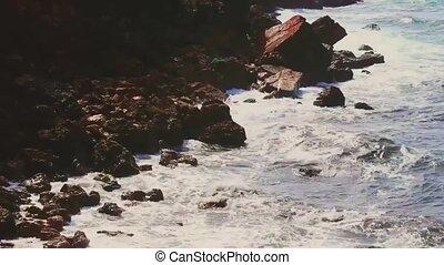 rochers, orage, falaise, vagues, pierres, nature, océan
