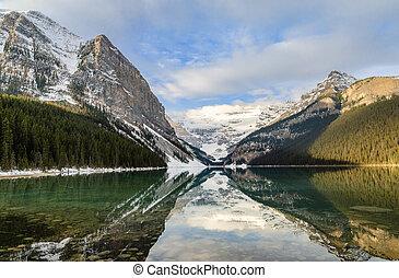 rocheux, banff, parc, vue, louise, reflet, canada, national, matin, lac, alberta, montagne