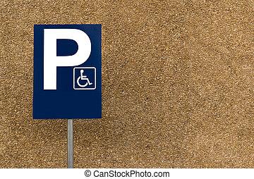 rocheux, espace, lotissements, signe parking, handicapé, rue, fond, vide, poste, copie