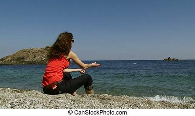 rocheux, femme, plage