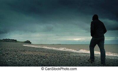 rocheux, orage, promenades, homme, plage