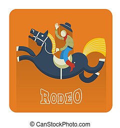 rodéo, icon., cheval, cow-boy