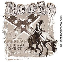 rodéo, sport, américain, original