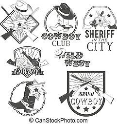 rodeo., ouest, vecteur, conception, vendange, américain, cow-boy, style., éléments, ensemble, étiquettes, shérif, sauvage, icons.