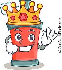 roi, caractère, pulvérisation, boîte aérosol, dessin animé