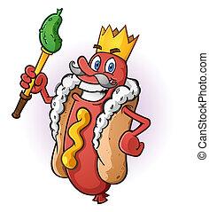 roi, chaud, caractère, chien, dessin animé
