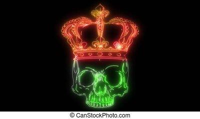 roi, death., couronne, crâne, portrait, vidéo