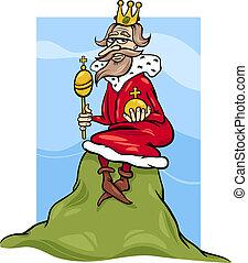 roi, dessin animé, colline, proverbe