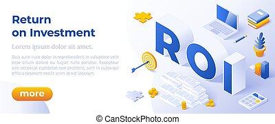 roi, investissement, retour, banner., business, conceptuel